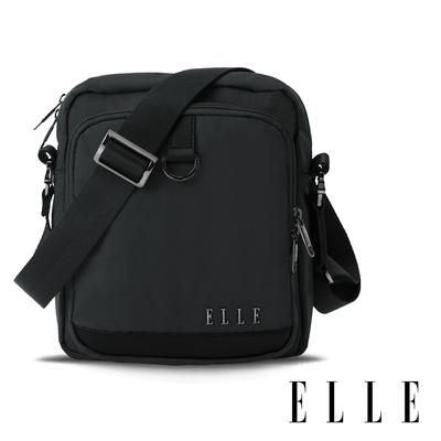 ELLE 都市再生系列 輕量多隔層搭配皮革設計直式斜/側背包-黑 EL83512