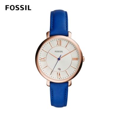 FOSSIL JACQUELINE 浪漫羅馬三針時尚腕錶-經典藍 約36mm ES3795