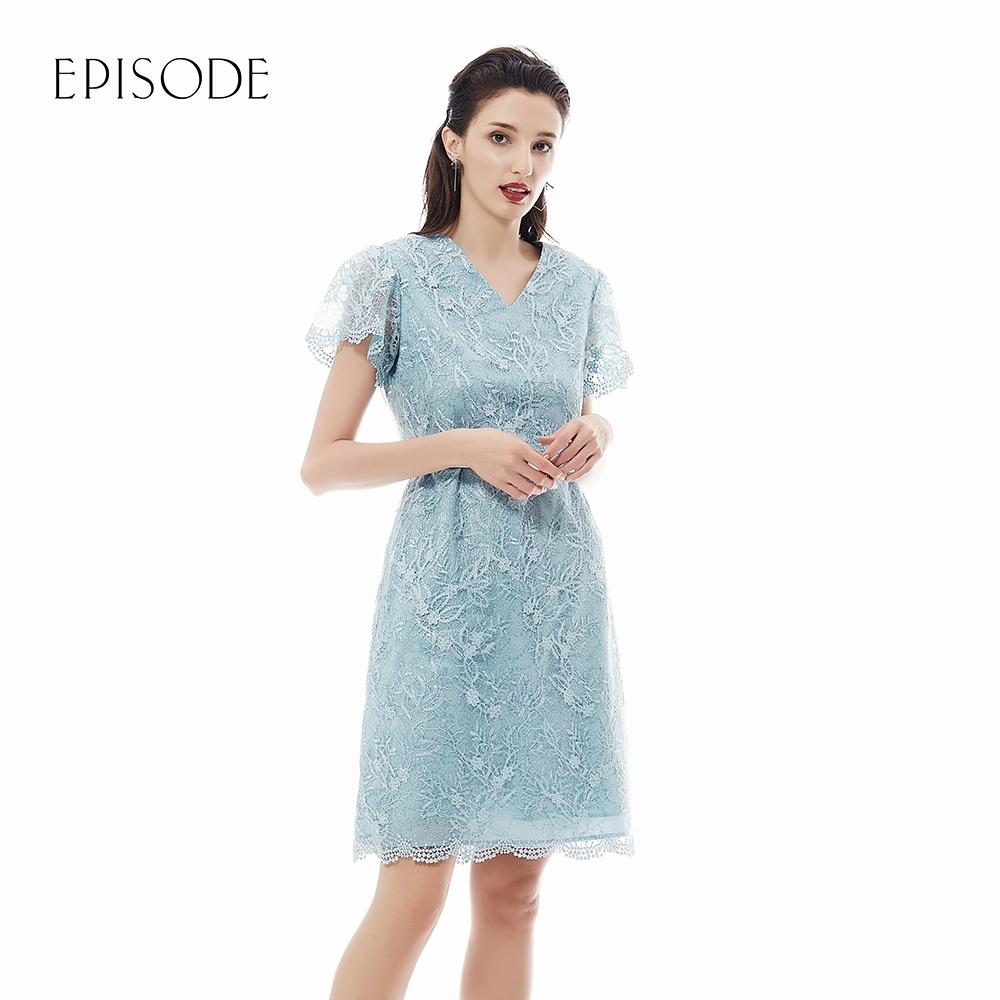 EPISODE - 湖水綠重磅蕾絲刺繡收腰V領洋裝