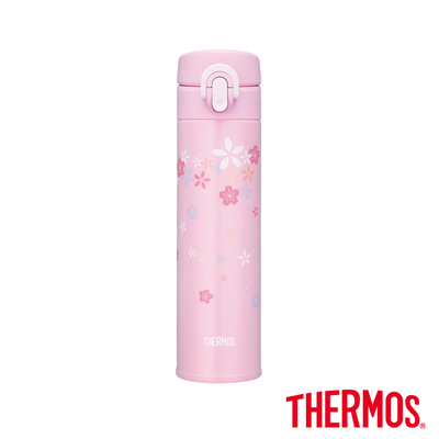 THERMOS膳魔師不鏽鋼超輕量彈蓋真空保溫瓶0.4L(JNI-401SK-CBLP)(櫻花瓶)