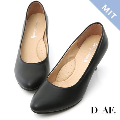 D+AF 知性品味.MIT素面微尖頭6cm中跟鞋*黑