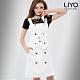 洋裝直紋MIT歐風雙排扣腰帶OL連身吊帶裙背心裙LIYO理優 S-XL product thumbnail 1