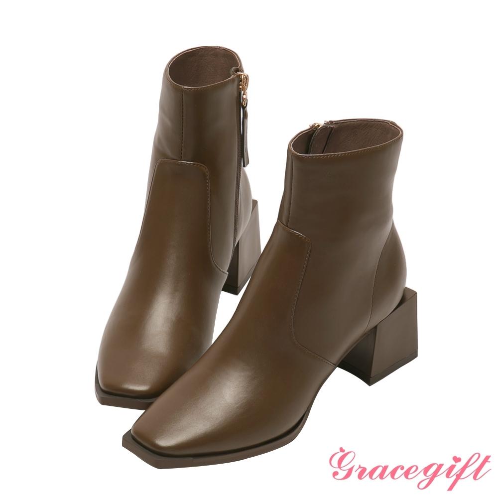 Grace gift X玄玄-聯名La La Land方形中跟短靴 咖