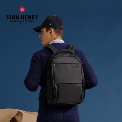 【JOHN HENRY】防潑水極簡休閒電腦後背包-黑