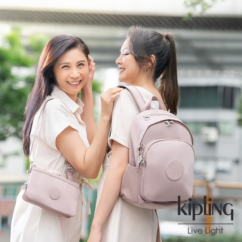 Kipling 溫柔沉穩粉單肩隨身斜背包-RIRI