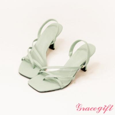 Grace gift-雙斜帶夾腳高跟涼鞋 綠