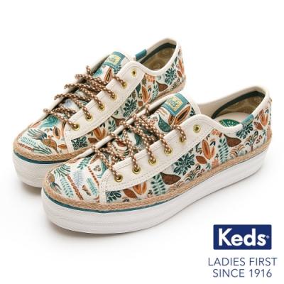 Keds x Jungalow 聯名款 TRIPLE KICK 藤編森林綁帶休閒鞋-米