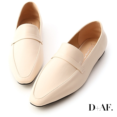 D+AF 極簡樣式.素面細帶尖頭樂福鞋*米