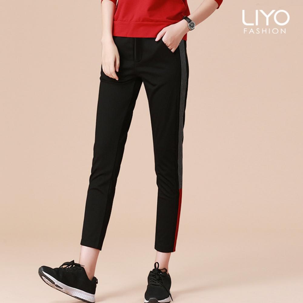 褲子-LIYO理優-運動風織帶顯瘦提臀美腿休閒褲