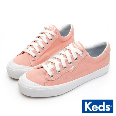 Keds CREW KICK 經典半月帆布綁帶休閒鞋-珊瑚紅