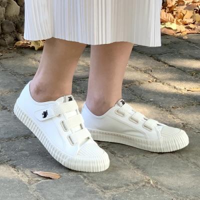 moz瑞典 厚底駝鹿魔鬼氈帆布餅乾鞋(百搭白)