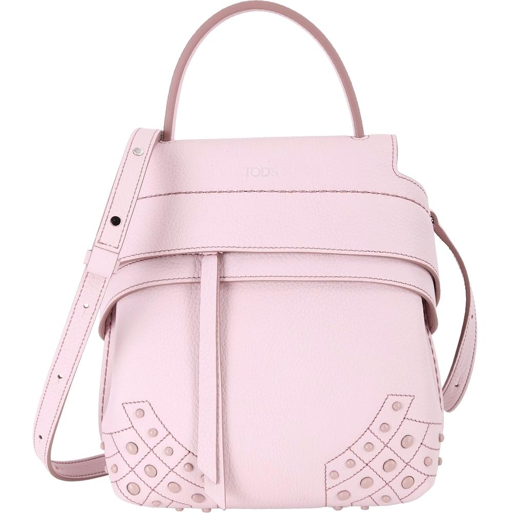 [時時樂限定 下殺5折] TOD'S Wave 粉色荔枝紋牛皮豆豆裝飾手提/後背包