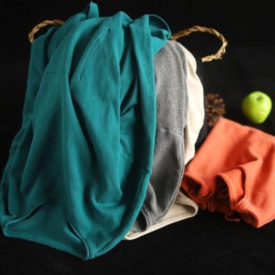 素色全棉抽繩下襬卷邊圓領內搭衫寬鬆毛衣針織衫-設計所在