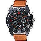 Timberland 天柏嵐 荒野騎士計時男錶-黑x咖啡色錶帶/46mm