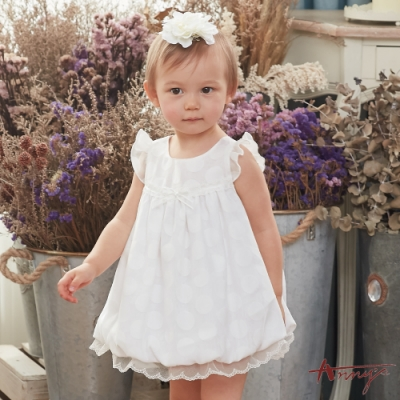 Annys安妮公主-迷霧中的光點蕾絲拼接蝴蝶結BABY無袖洋裝*8519白色