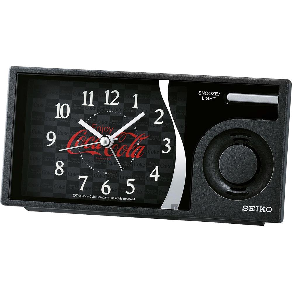 SEIKO 可口可樂聯名 滑動式秒針 音樂鬧鐘(QHP901K)-黑/15x7.5cm