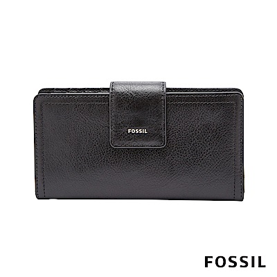 FOSSIL Logan 真皮系列拉鍊零錢袋設計中夾-黑色