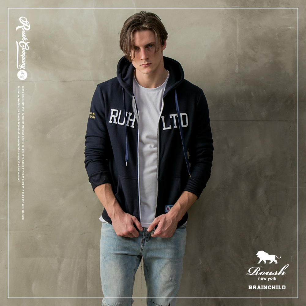 Roush 美式立體鋼印刷毛連帽外套(2色)