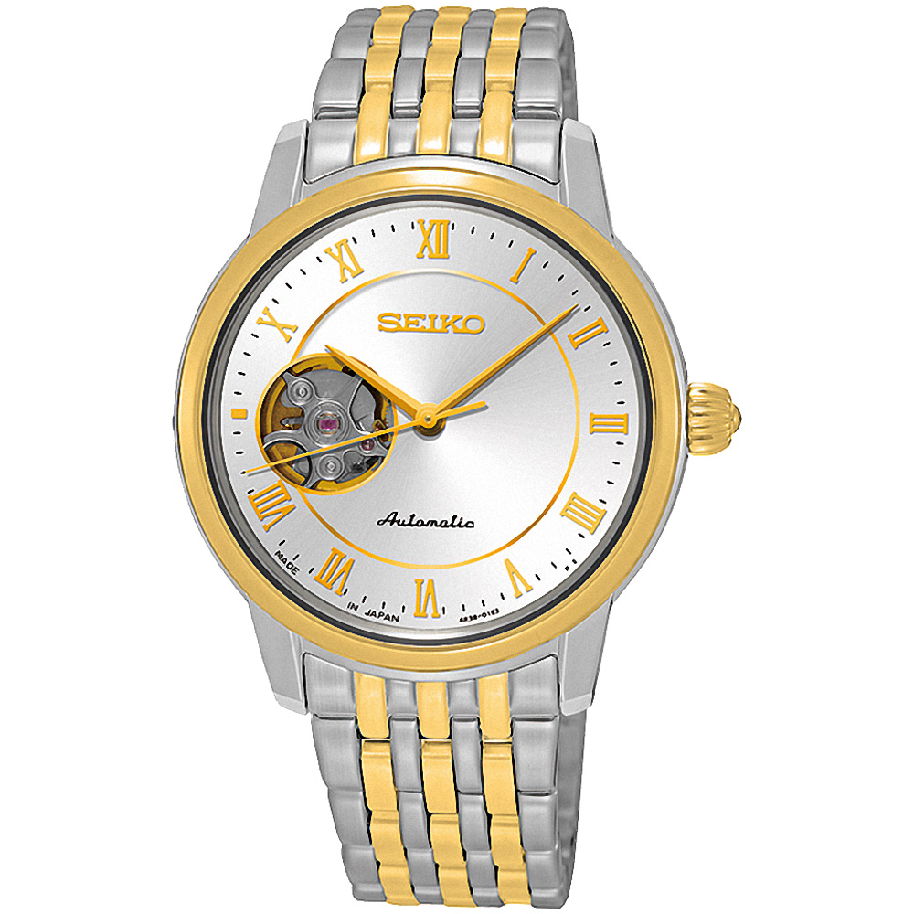 SEIKO精工 Presage經典開芯機械女錶(SSA854J1)-銀x金/34mm @ Y!購物