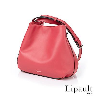 法國時尚Lipault By The Seine優雅真皮水桶包(莓紅)