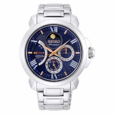 SEIKO 精工 Premier 人動電能月相手錶SRX017J1-藍X銀/42mm