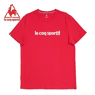 le coq sportif 法國公雞牌素色圓領短袖T恤 女-紅