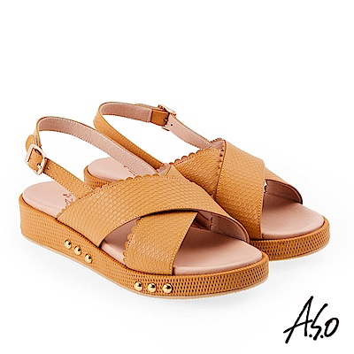 A.S.O 雅緻魅力 牛皮壓紋鉚釘綴飾輕量奈米鞋墊休閒涼鞋 黃