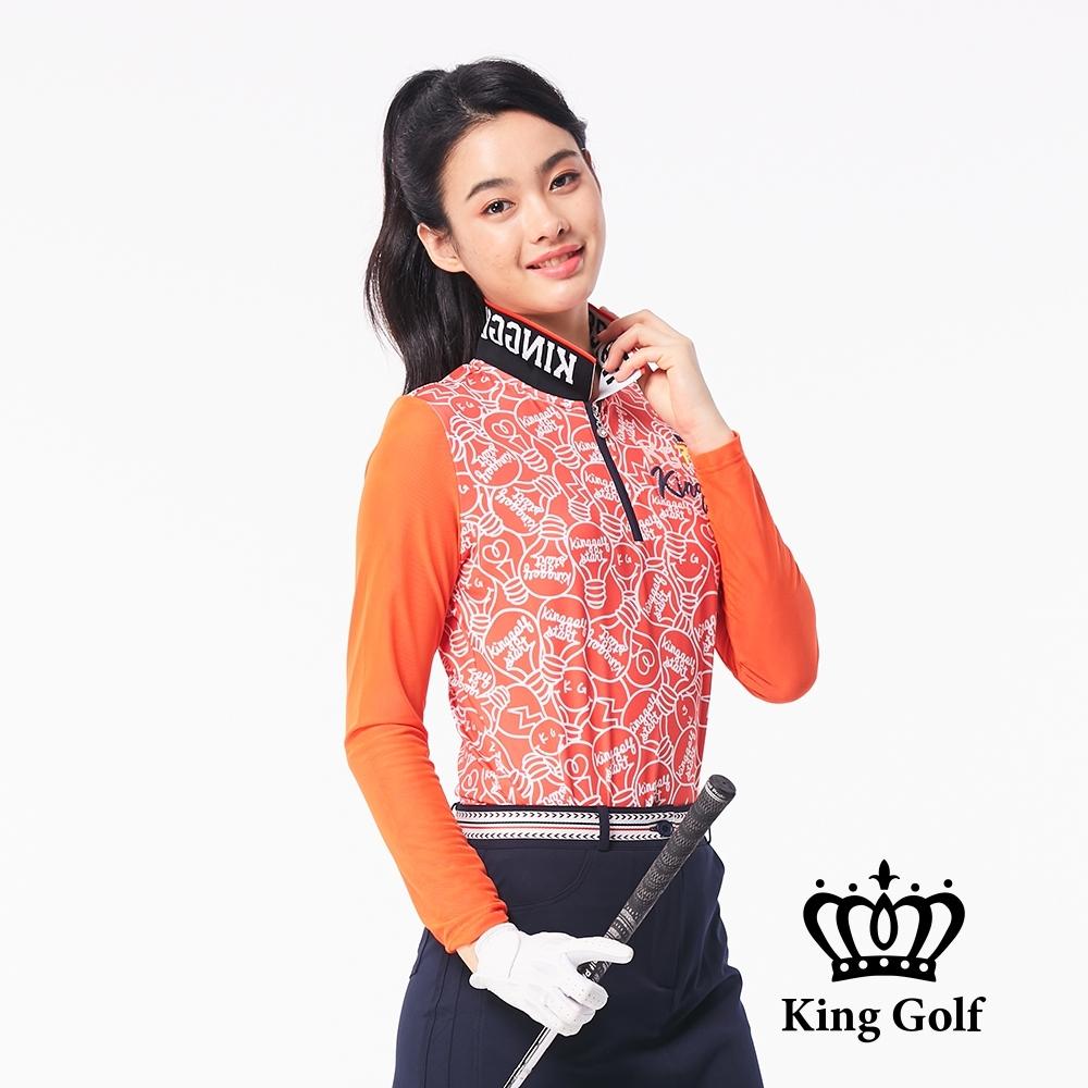 【KING GOLF】雙面跳色可翻式立領拉鍊印花長袖POLO衫-橘紅