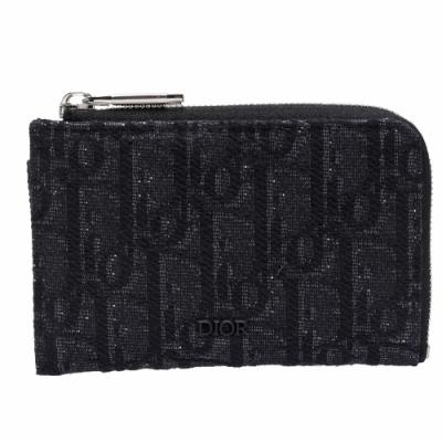 Dior 經典膠面LOGO OBLIQUE緹花布L型拉鍊零錢包(黑)