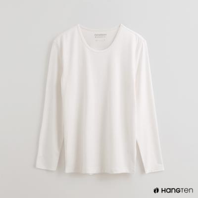 Hang Ten - 男裝 -ThermoContro-素面運動機能圓領長袖上衣-白