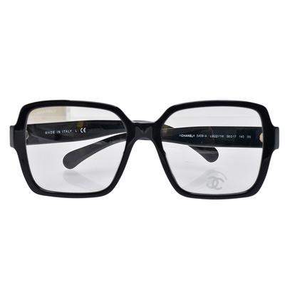 CHANEL 經典方型膠框平光眼鏡(黑)