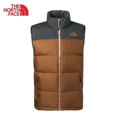 The North Face 男 保暖防潑水羽絨背心 咖灰-NF0A35BLYDM