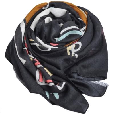 MOSCHINO 品牌音樂TOY小熊LOGO義大利製羊毛混莫代爾披肩/圍巾(黑系)