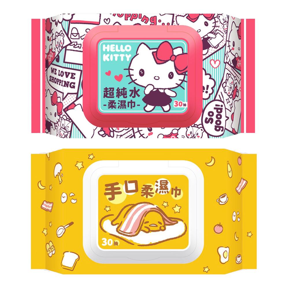 [限時搶購]Sanrio 三麗鷗系列加蓋濕紙巾30抽x36 包/箱(種類可選)
