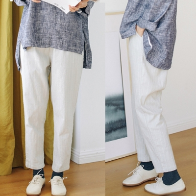 休閒褲-色織純棉淺灰條紋寬鬆直筒九分棉麻-設計所在