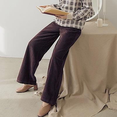 高含棉燈芯絨落地寬褲-OB大尺碼