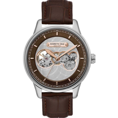 KENNETH COLE  KC51020001 自動上鍊前後鏤空機械 男錶 真皮錶帶