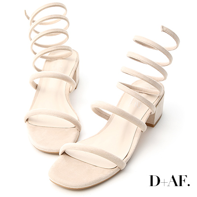 D+AF 完美線條.一字蛇圈繞腿低跟涼鞋*米杏