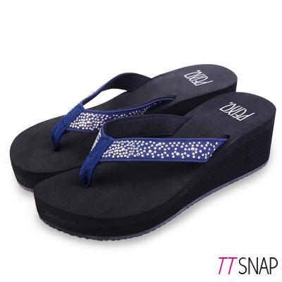 TTSNAP拖鞋-MIT修長顯瘦銀河夾腳中跟涼拖 藍