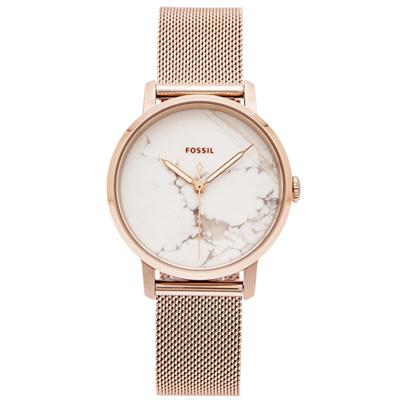 FOSSIL 優雅大理石紋款的米蘭帶手錶(ES4404)-灰x白面/34mm
