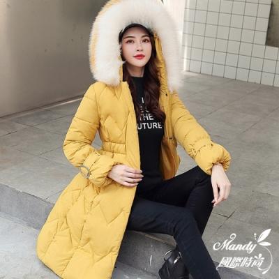 Mandy國際時尚 羽絨棉 冬 甜美中長款大毛領修身收腰羽絨棉服(6色)