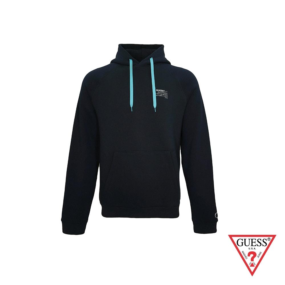 GUESS-男裝-簡約素面抽繩長袖帽T-深藍 原價2490