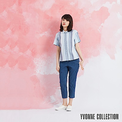 YVONNE 直條紋短袖襯衫-藍