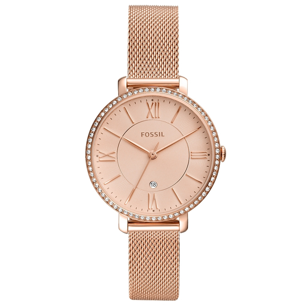 FOSSIL Jacqueline 晶鑽米蘭帶手錶(ES4628)-玫瑰金/36mm