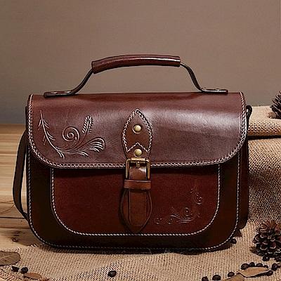 米蘭精品 手提包真皮牛皮側背包-休閒百搭復古郵差女包包母親節禮物4色73lp51