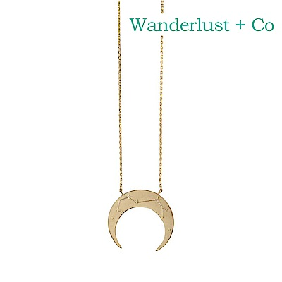 Wanderlust+Co 澳洲時尚品牌 射手座鑲鑽新月項鍊 金色