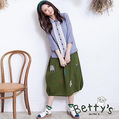 betty's貝蒂思 森林系童趣刺繡鬆緊長裙(深綠) @ Y!購物