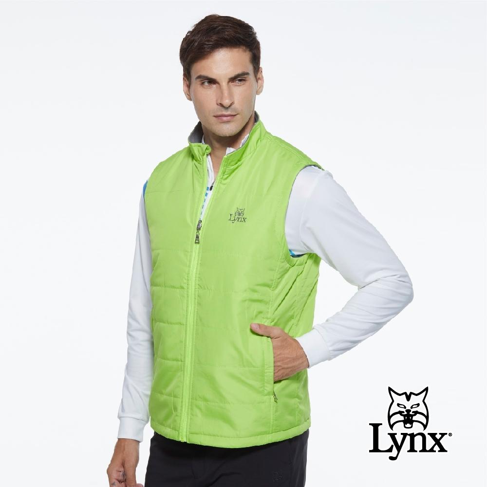 【Lynx Golf】男款防風保暖鋪棉Fleece刷毛山貓繡花雙面穿無袖背心-綠色