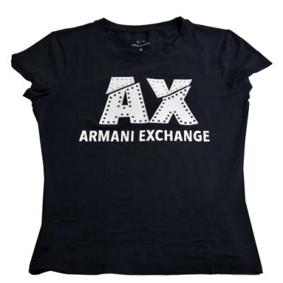 AX ARMANI EXCHANGE 貼鑽字母LOGO薄棉質短袖女T恤(深夜藍/M號)