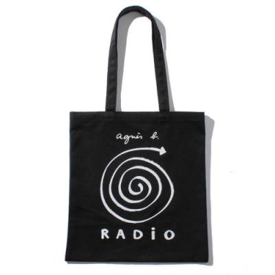 agnes b. 標誌棉質手提袋 (黑)